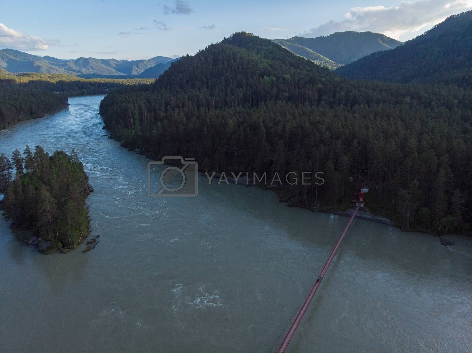 Aerial view of Katun river with bridge, in Altai mountains