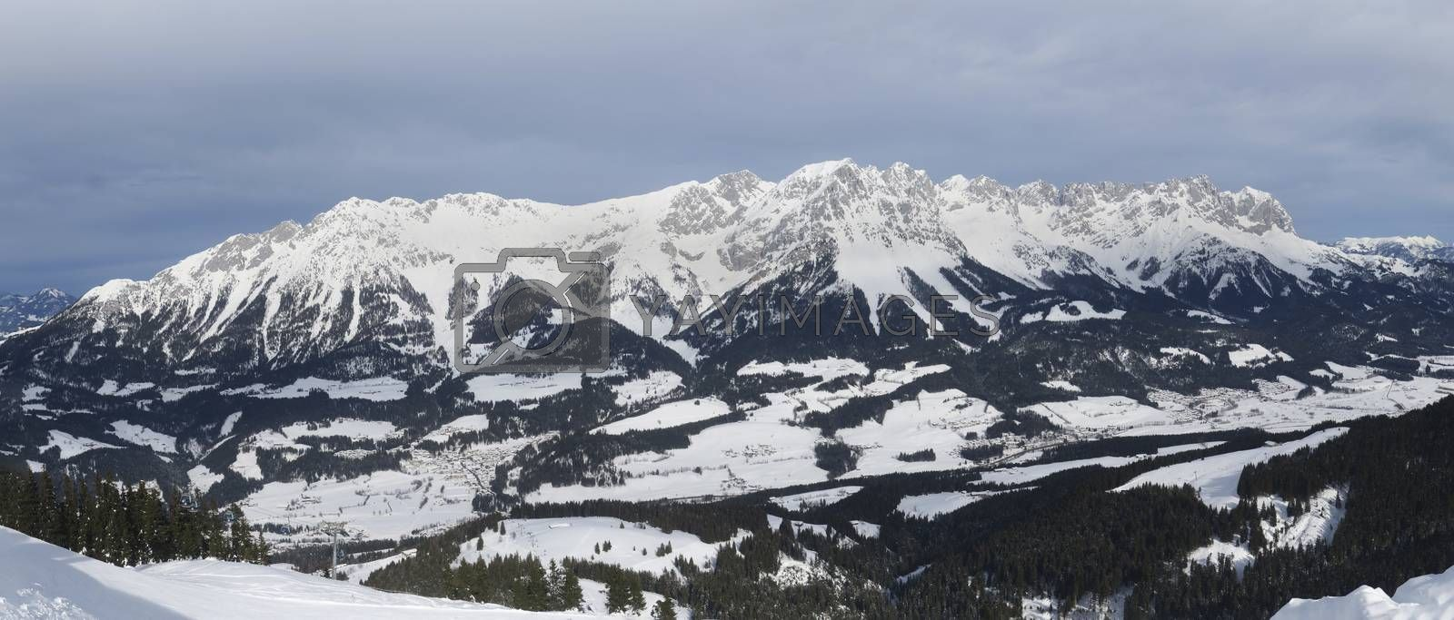 panorama of the wilder kaiser in austria