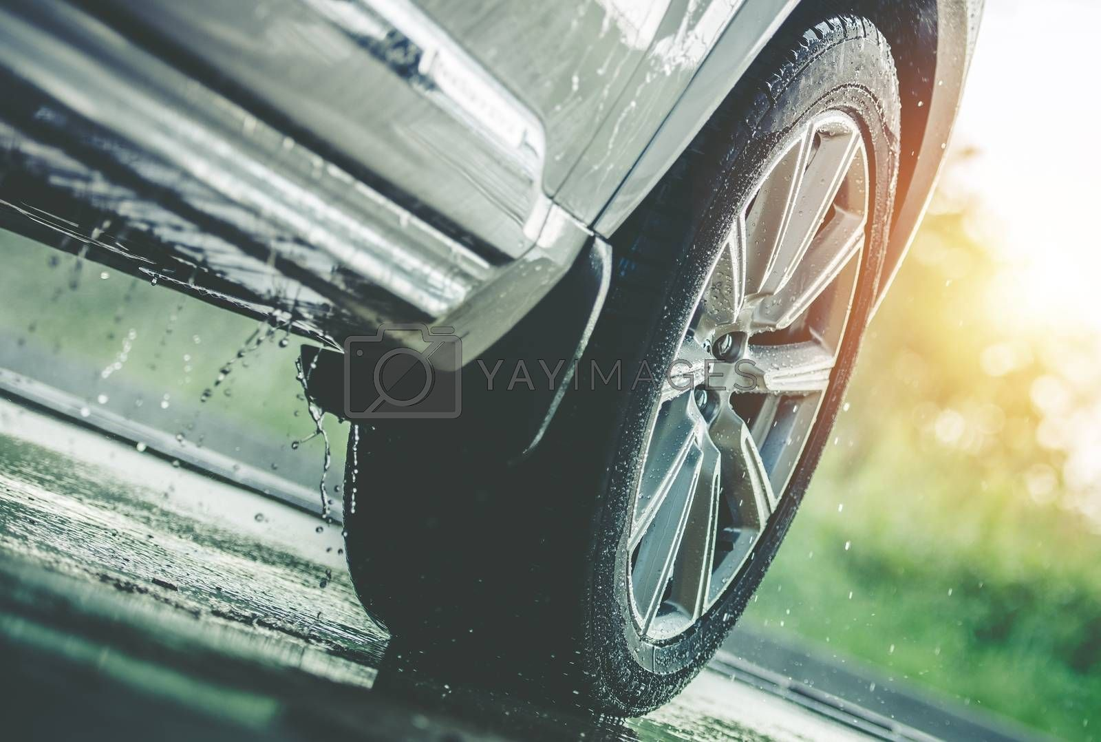 Royalty free image of Car Driving in the Rain by welcomia