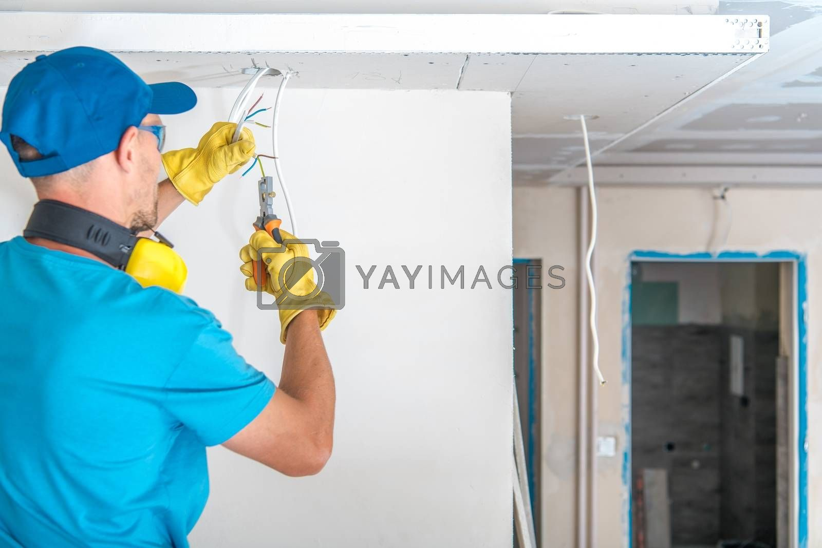 Royalty free image of Electric Technician at Work by welcomia