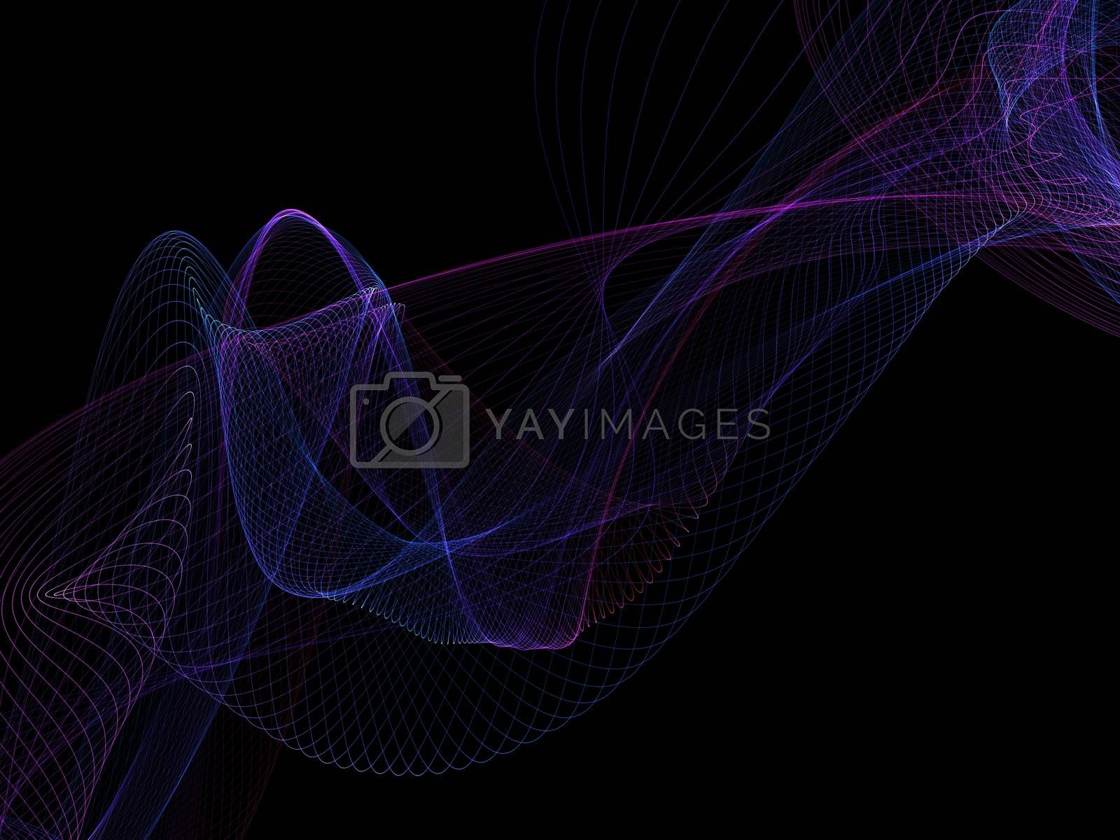 Royalty free image of Dark abstract background with a glowing abstract waves by teerawit