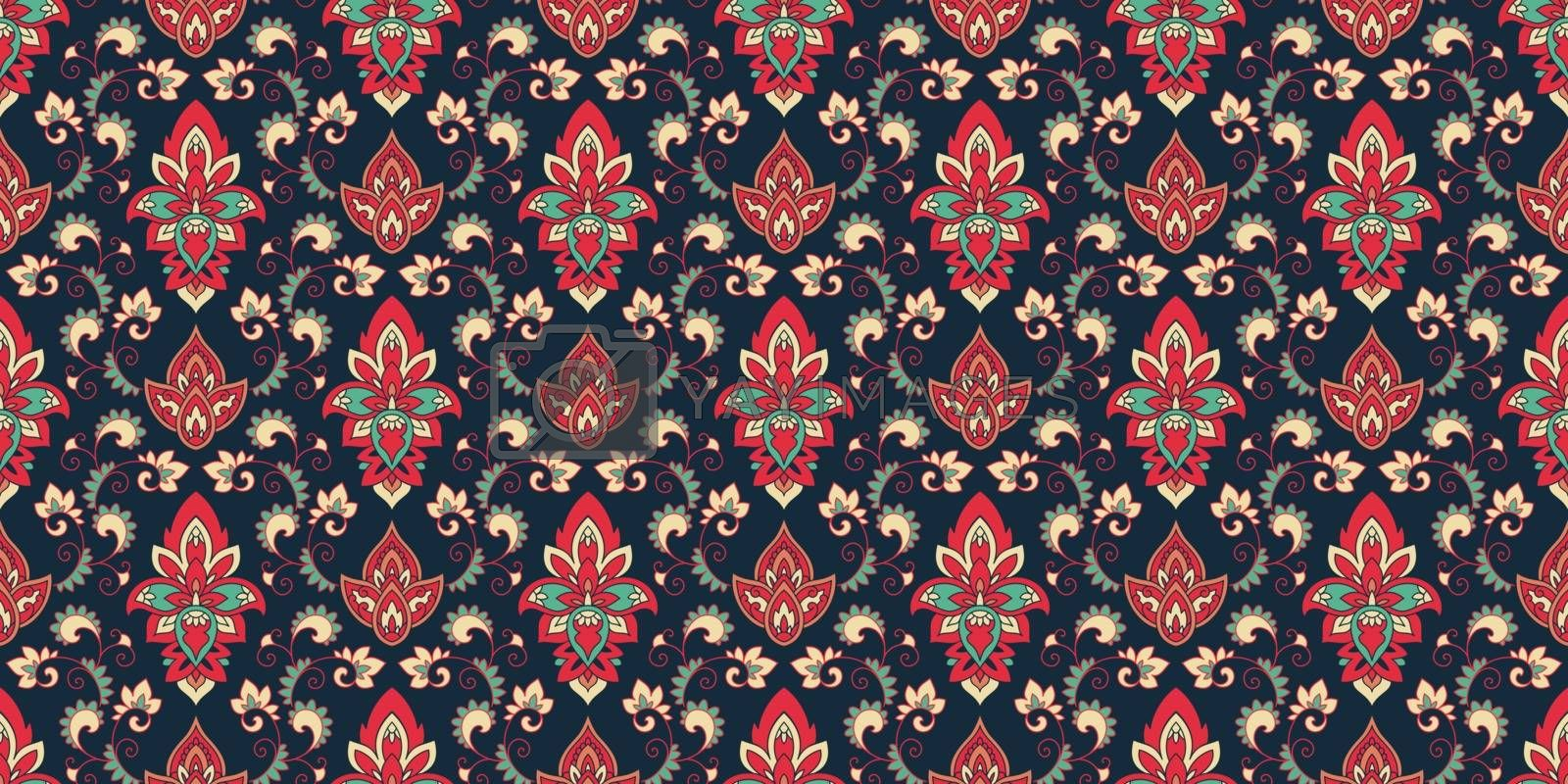 Royalty free image of Seamless pattern based on traditional Asian elements Paisley. Boho vintage style vector background. Silk neck scarf or kerchief pattern design style, best motive for print on fabric or papper. by SanyaL
