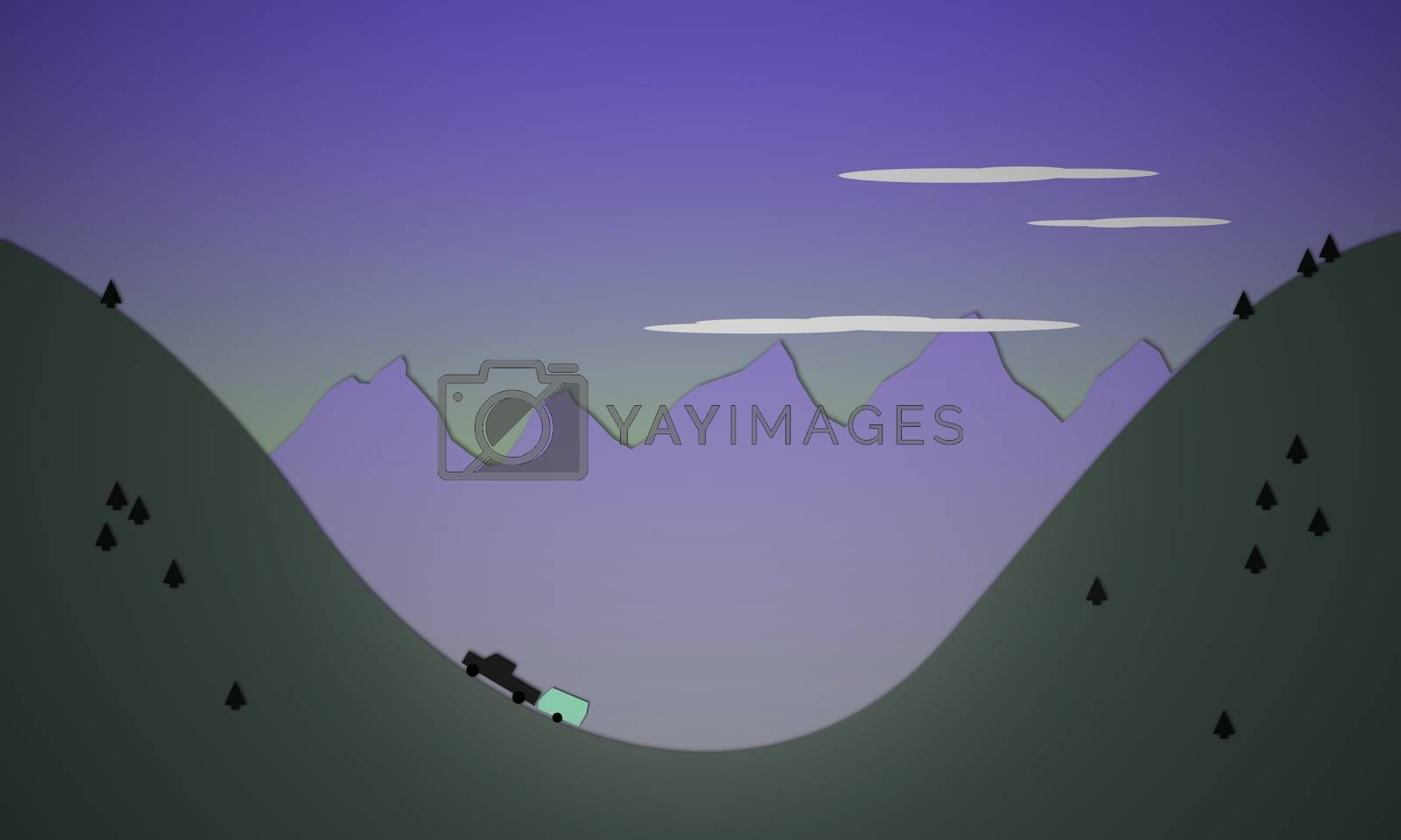Royalty free image of Illustration of hills with truck traveling with trailer by KrisGreer08