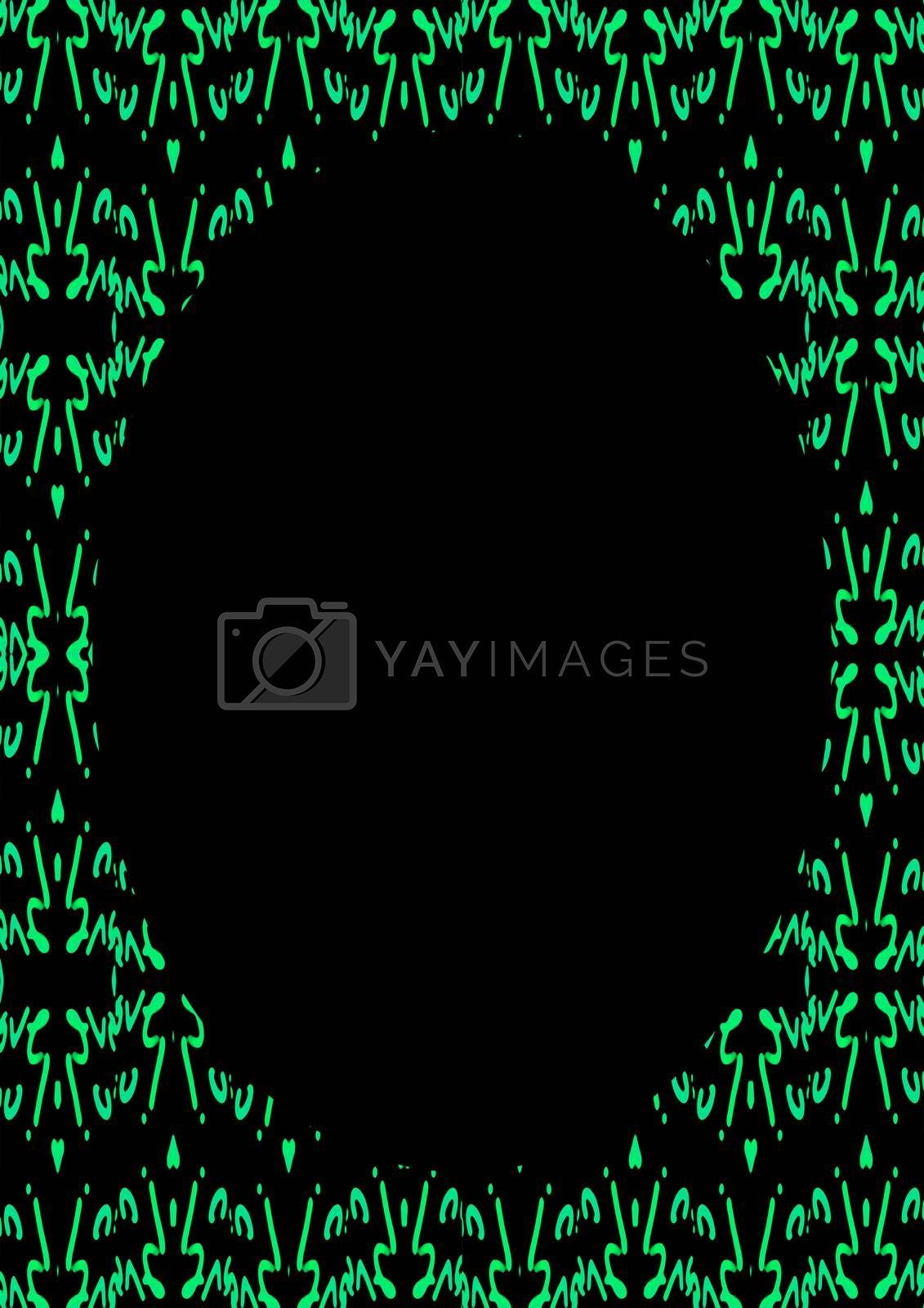 Royalty free image of Black Frame with Decorated Patterned Rounded Borders by DanFLCreative