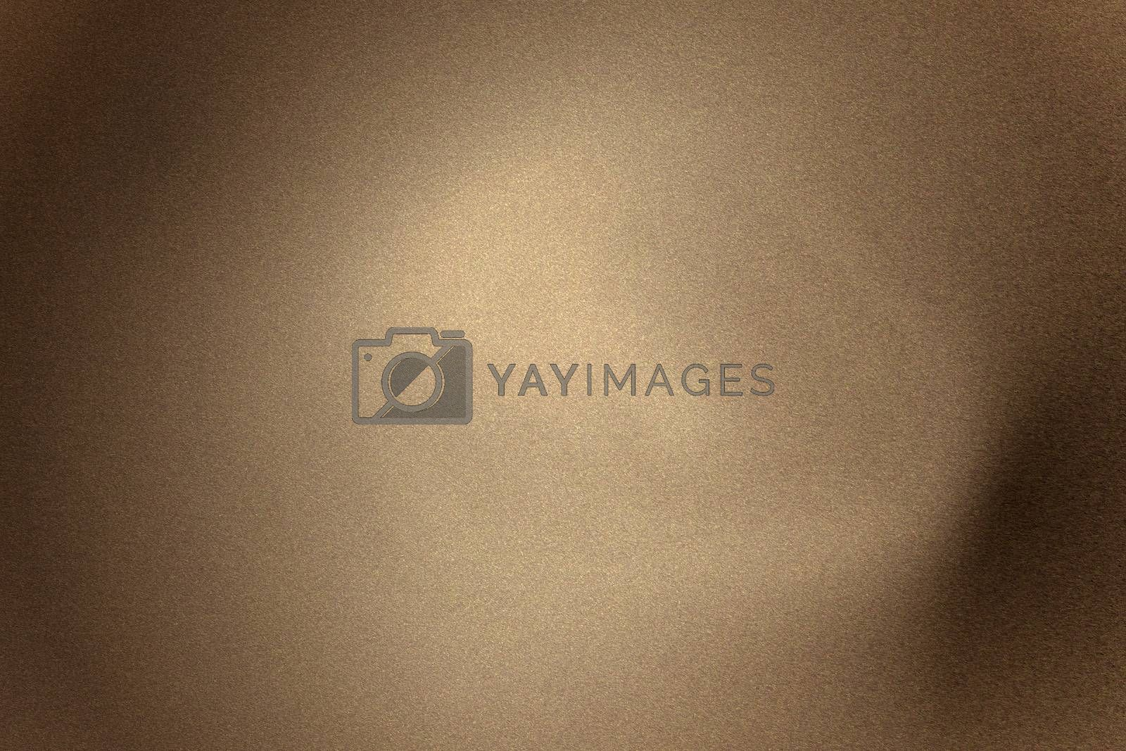 Royalty free image of Light shining on brown wave metallic panel in dark room, abstract texture background by mouu007