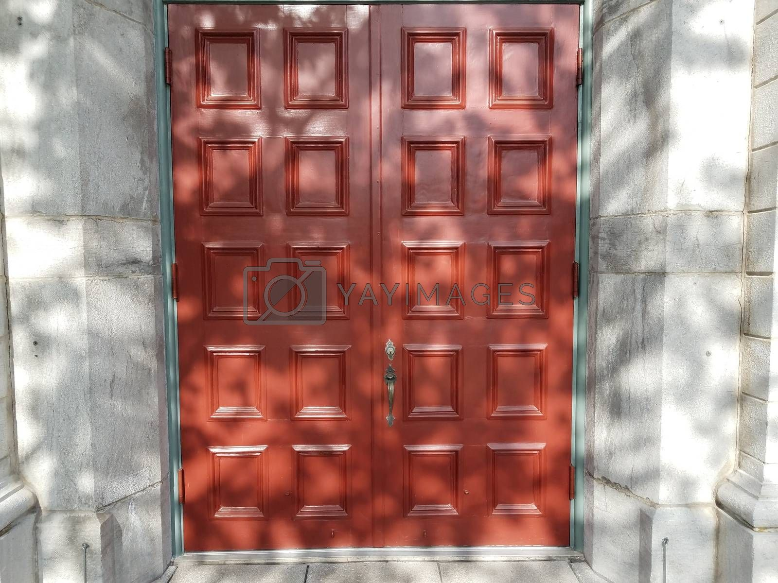 Royalty free image of white wall and red door with squares by stockphotofan1