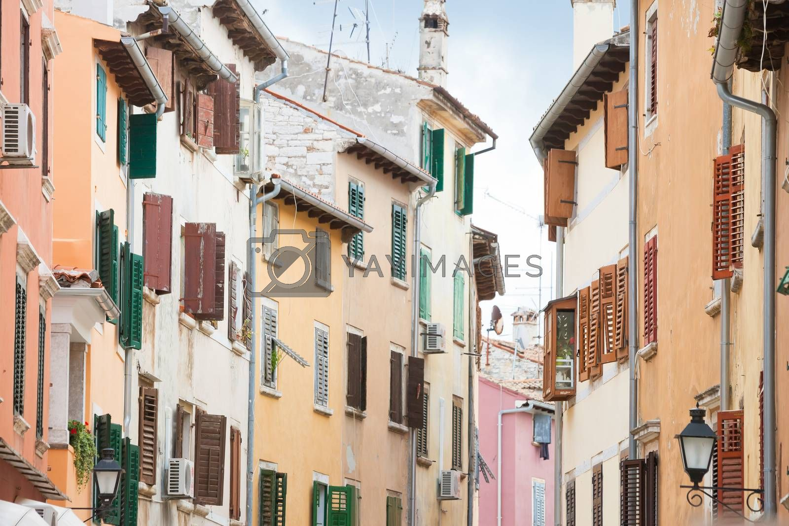 Rovinj, Istria, Croatia, Europe - Wooden lattice blinds at the houses of Rovinj