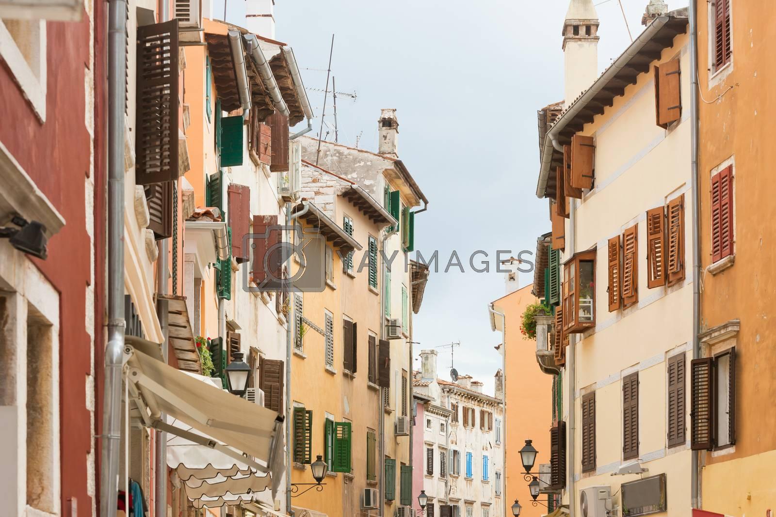 Rovinj, Istria, Croatia, Europe - Coloured facades at the city center of Rovinj