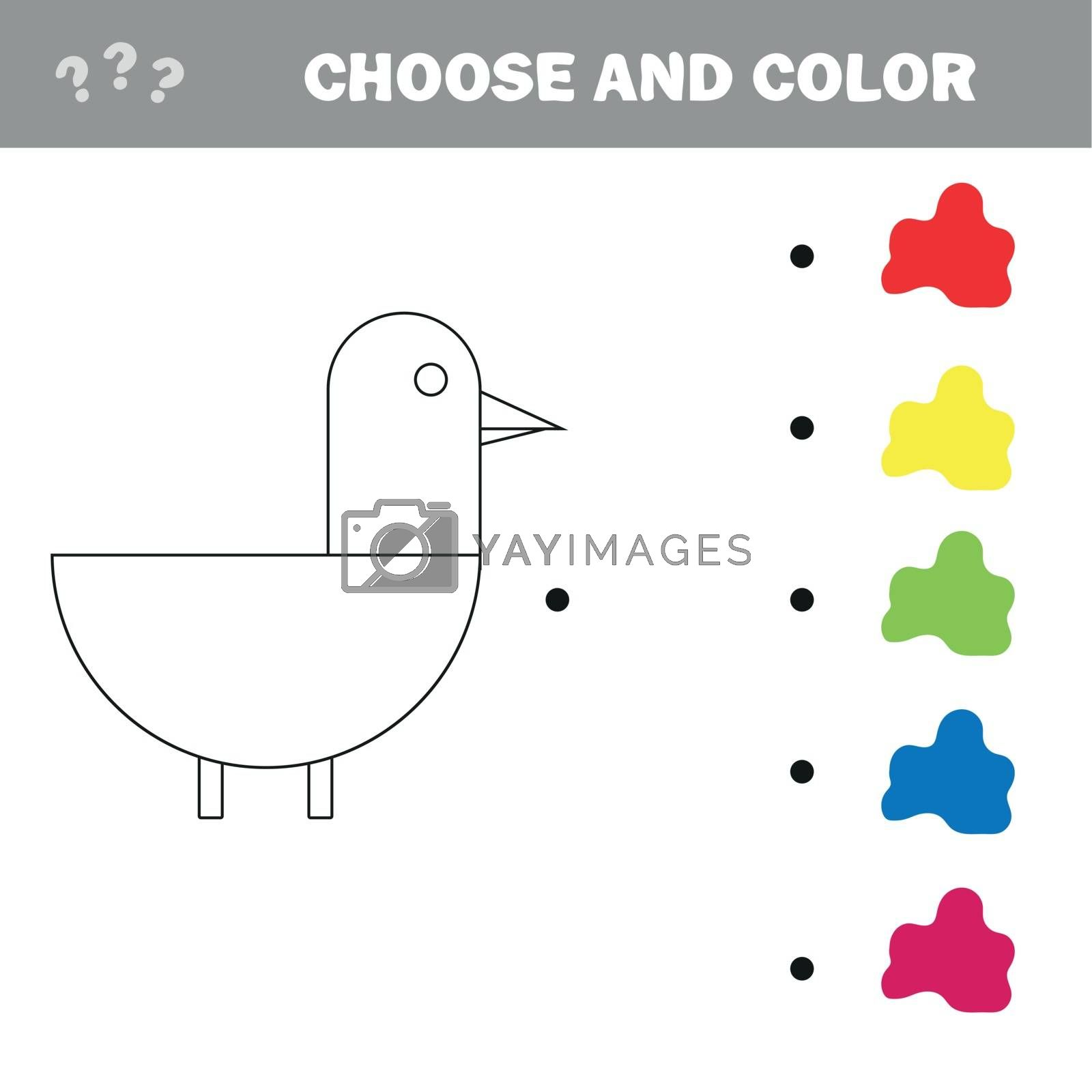Royalty free image of Coloring The Cute Cartoon Duck. Educational Game for Kids. Vector illustration by natali_brill