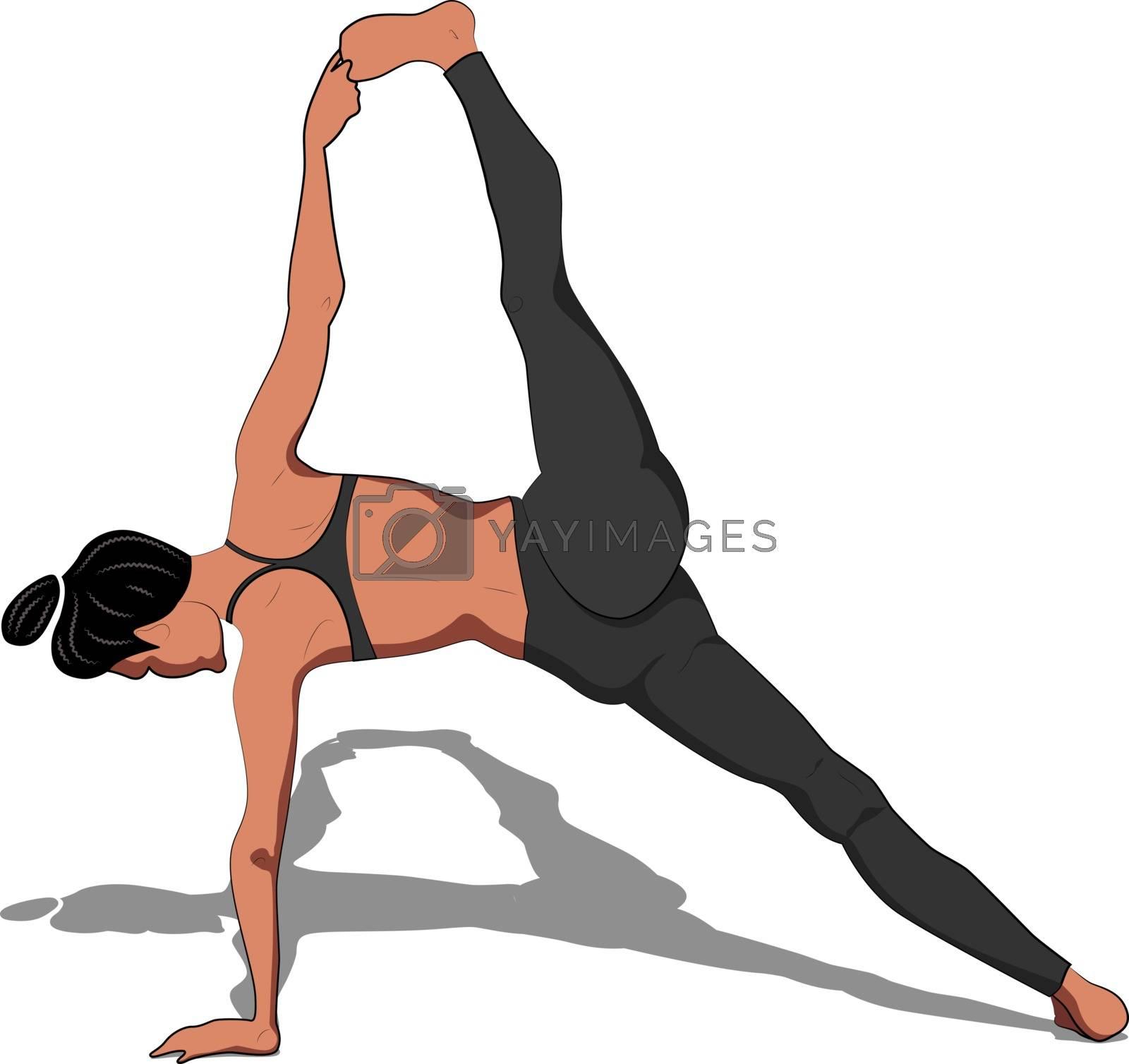 Vector yoga illustration. Healthy lifestyle with yoga pose. Yoga asana Vasishthasana II.