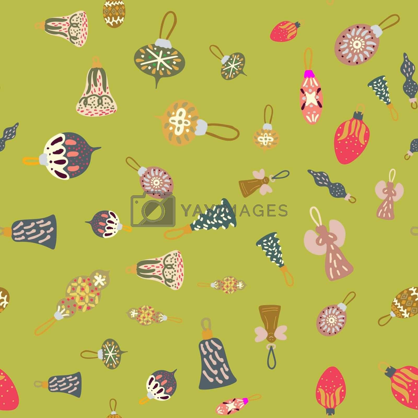 Royalty free image of Christmas tree decor seamless pattern on bright green background by Nata_Prando