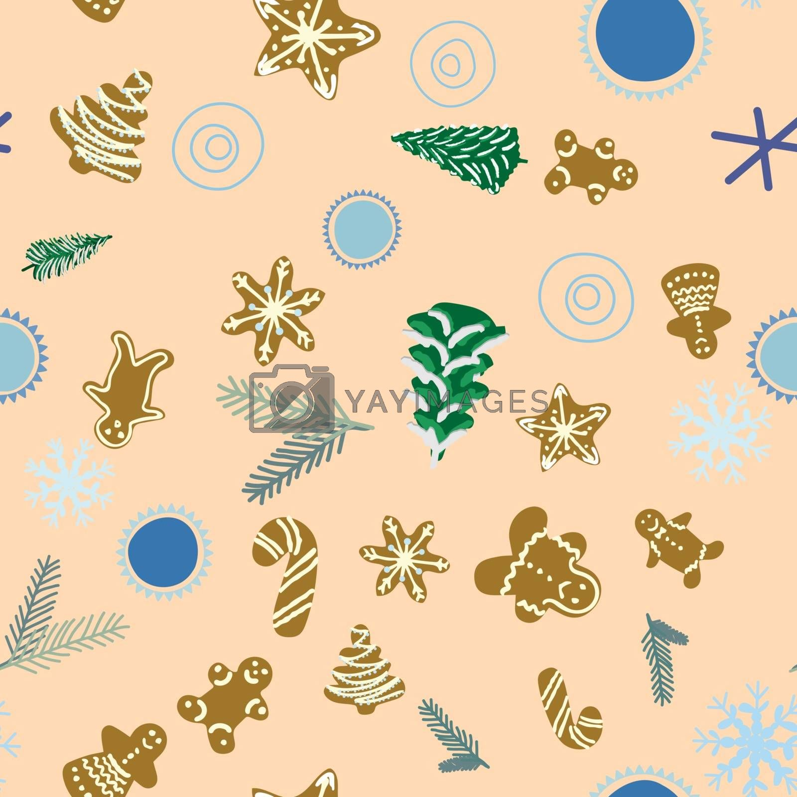 Royalty free image of Gingerbread biscuits, pine trees and pine tree twigs seamless pa by Nata_Prando