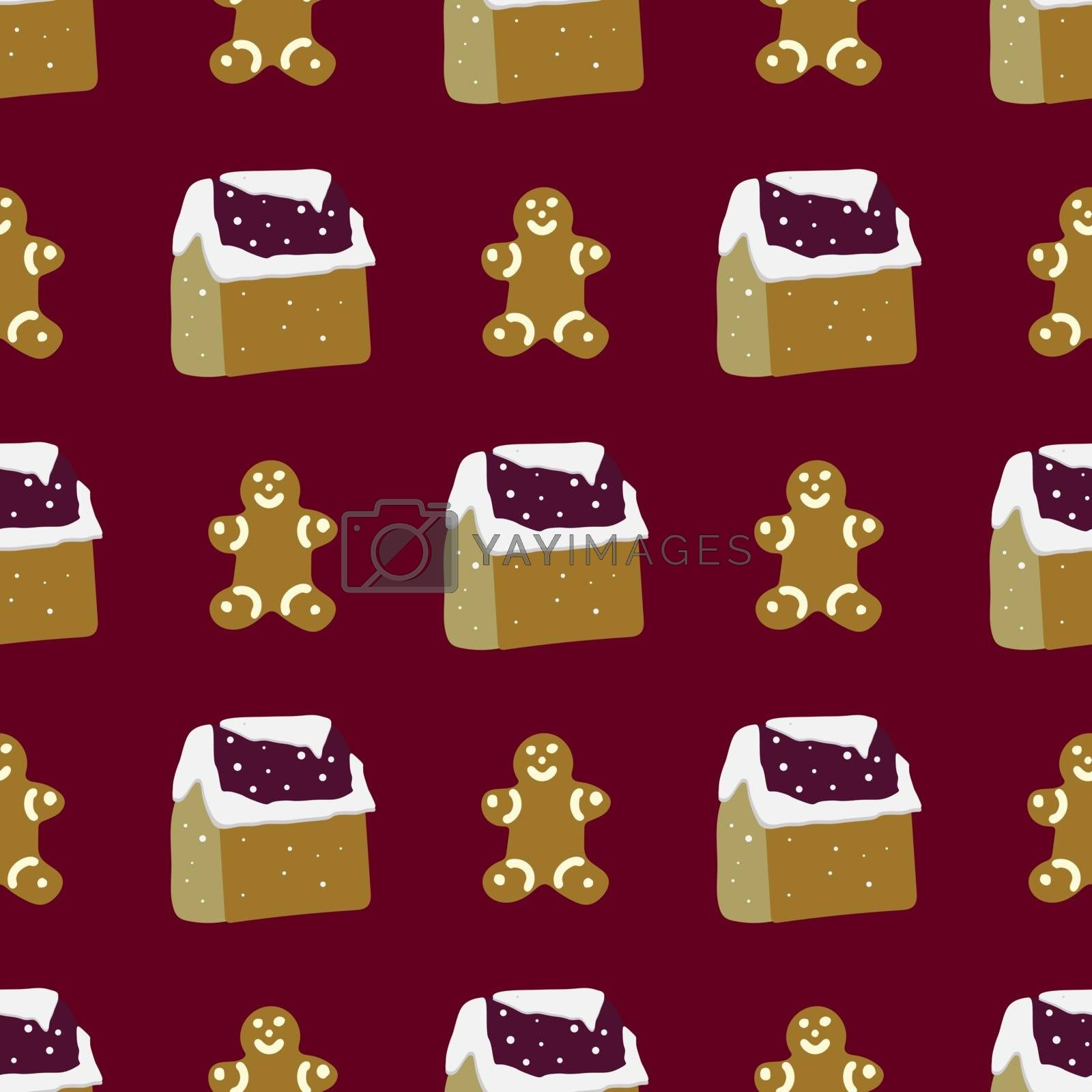 Royalty free image of Gingerbread man and christmas tree seamless pattern on burgundy  by Nata_Prando