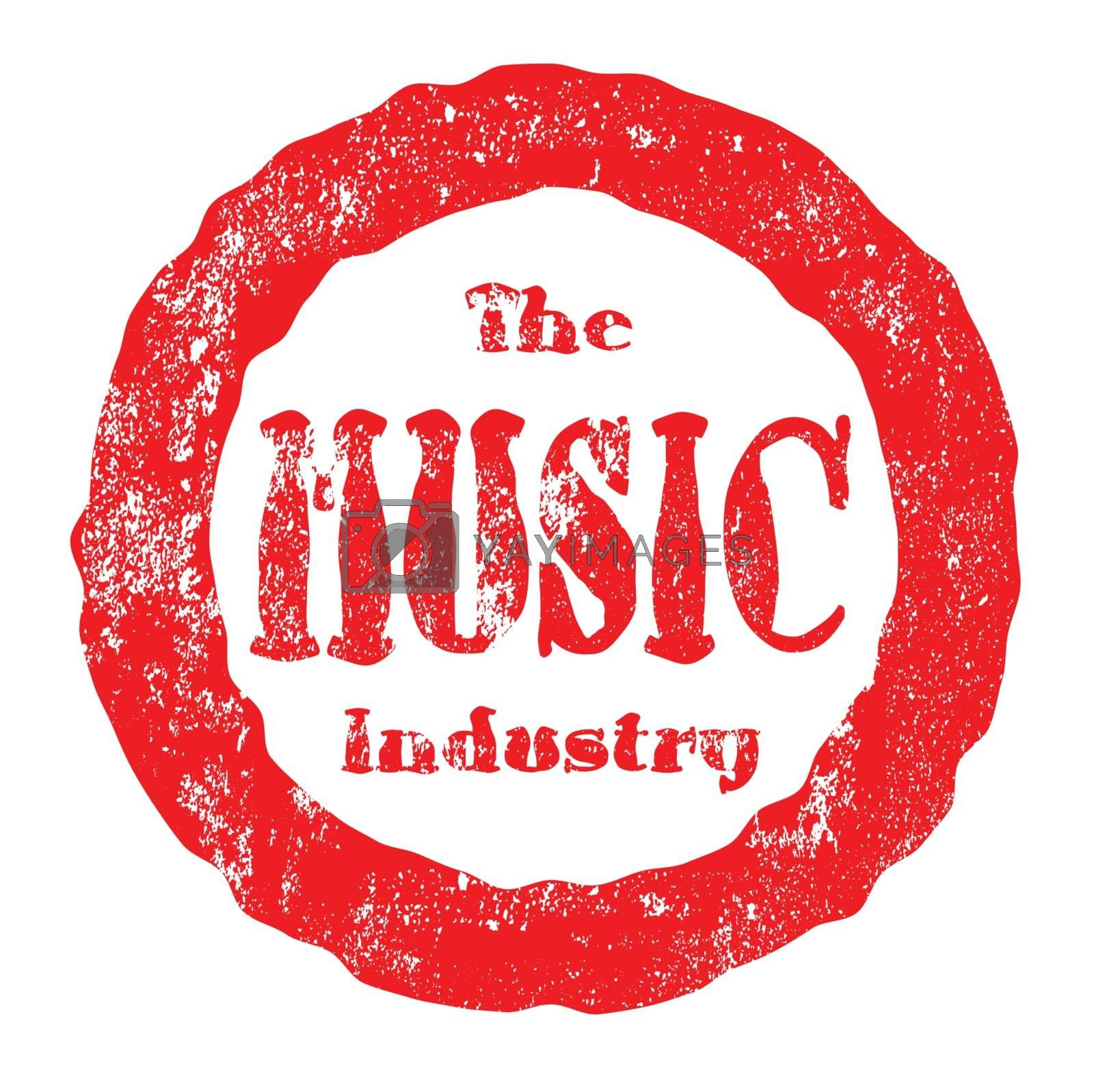 The Music Industry Red Ink Rubber Stamp by HomeSteadDigital