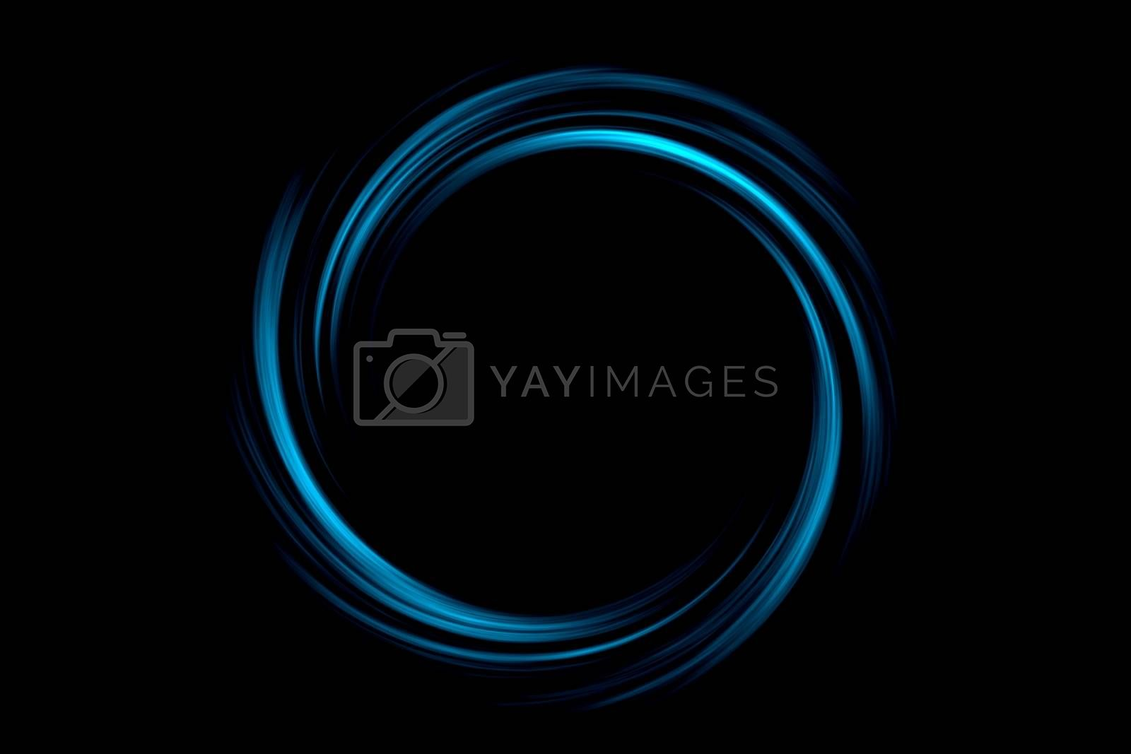 Royalty free image of Abstract black hole with light blue circle on black background by mouu007