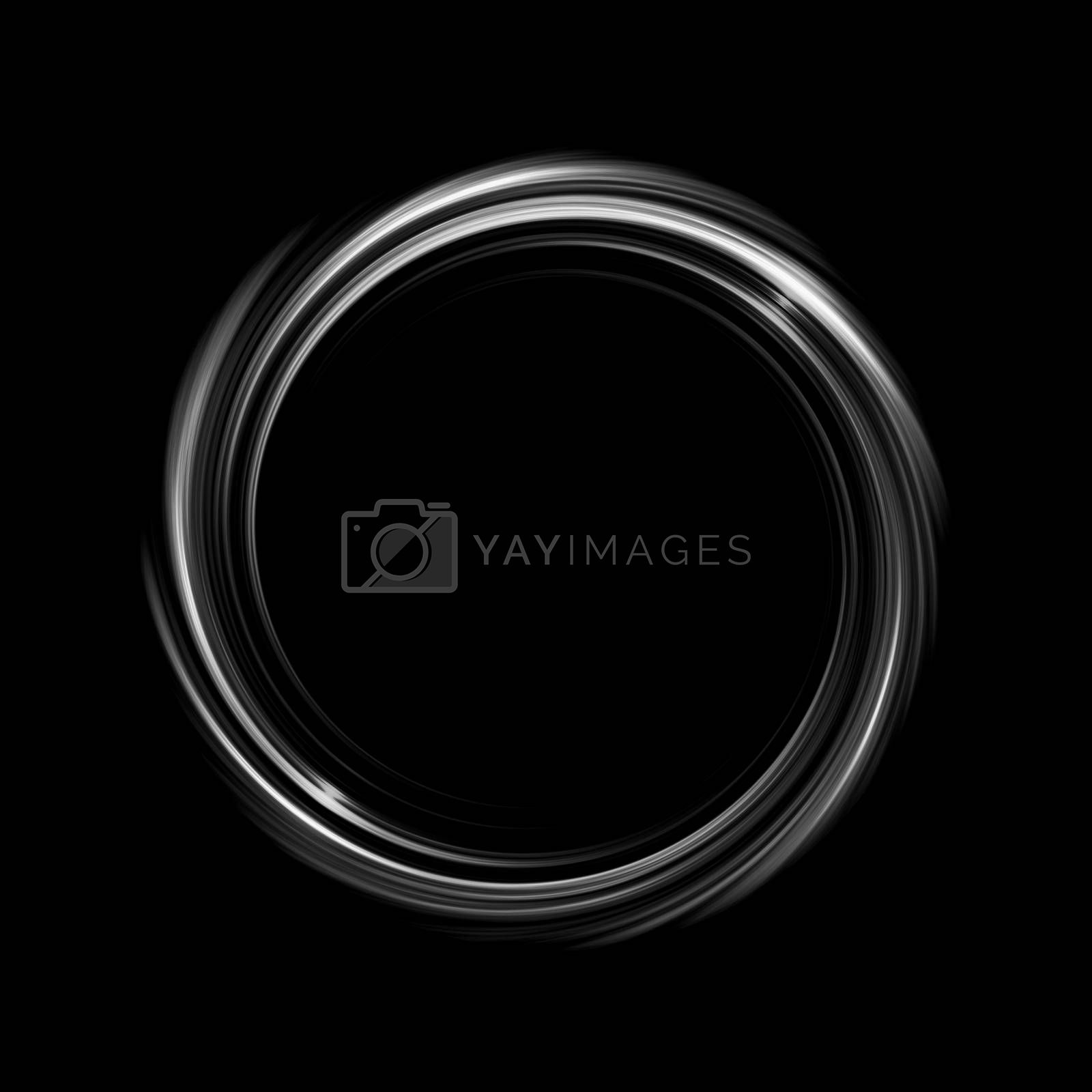 Royalty free image of Glowing white spiral with light circle on black backdrop, abstract background by mouu007
