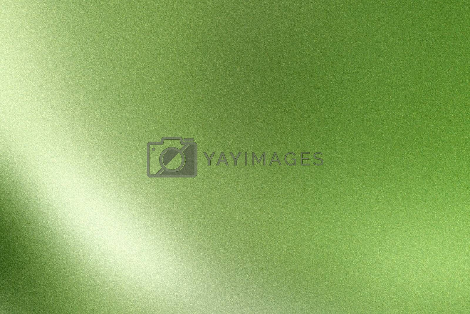 Royalty free image of Light shining on green wave metallic wall, abstract texture background by mouu007