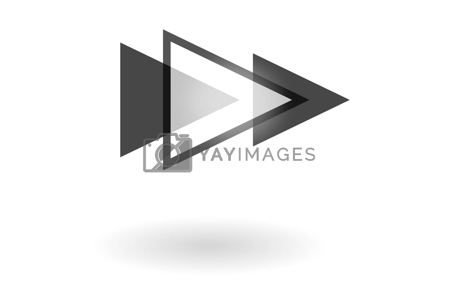 Royalty free image of Abstract geometric pattern, monochrome play icon with triangle overlapping on white background by mouu007