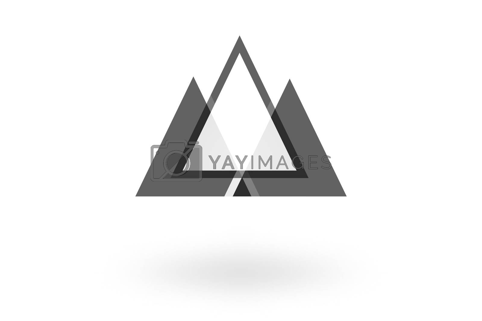Royalty free image of Abstract geometric pattern, monochrome triangle overlapping logo on white background by mouu007