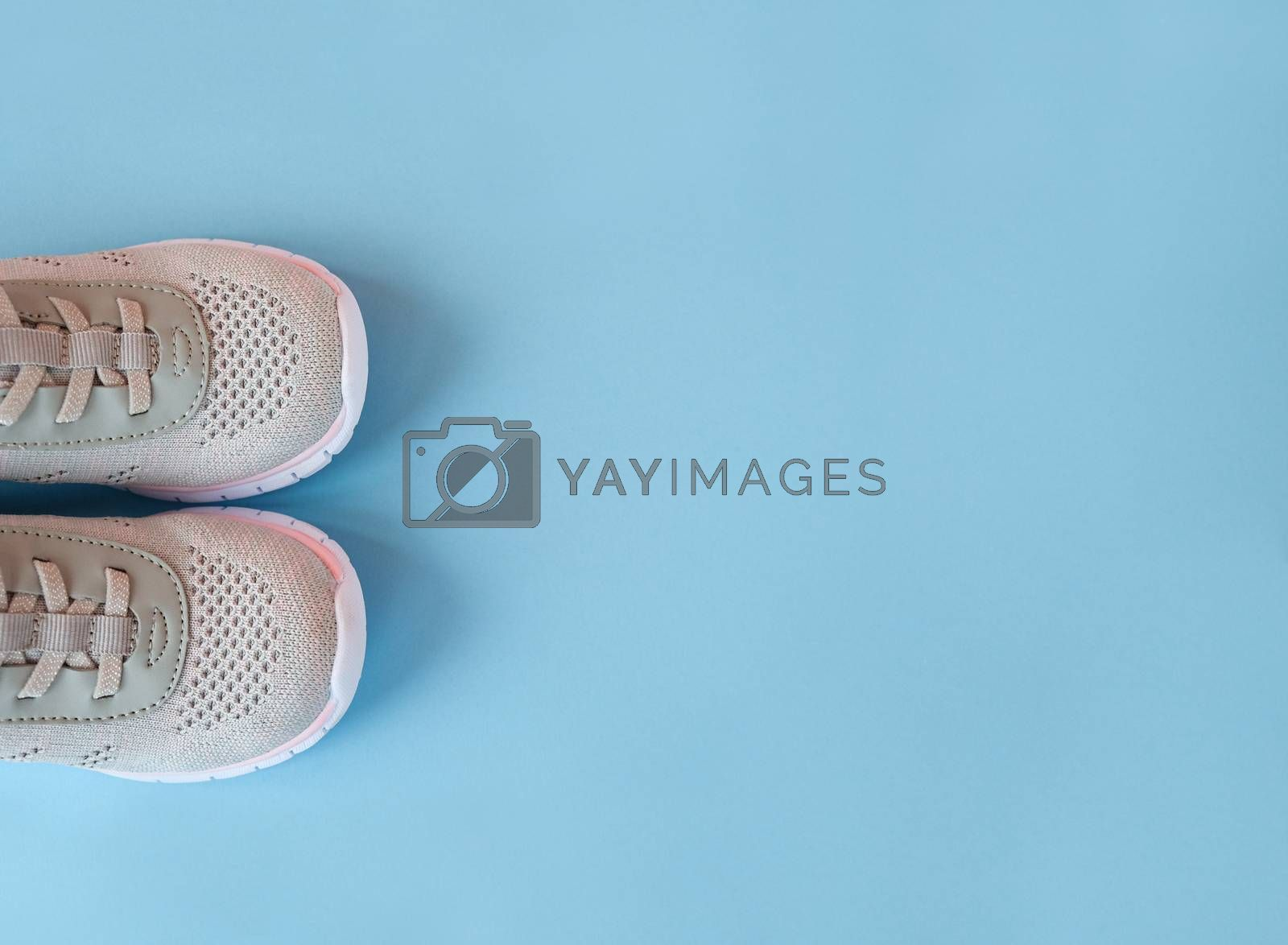 Sport, healthy lifestyle concept. New gray sneakers on pastel blue background. Copy space. Flat lay.