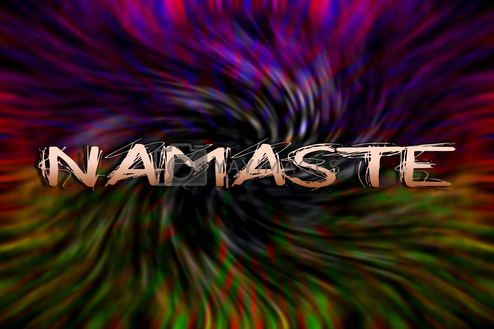 Namaste text quote in psychedelic background wallpaper fine prints by BakalaeroZz Photography