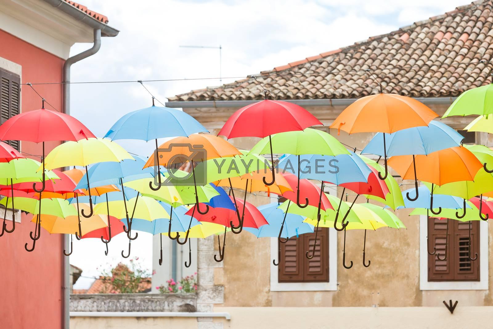 Novigrad, Istria, Croatia, Europe - Colorful umbrellas in the streets of Novigrad