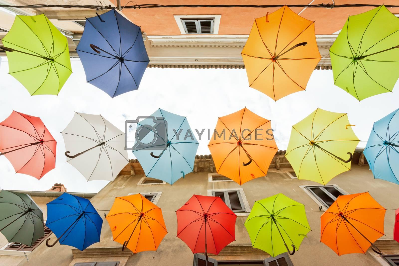Novigrad, Istria, Croatia, Europe - Find the mistake - One umbrella is missing