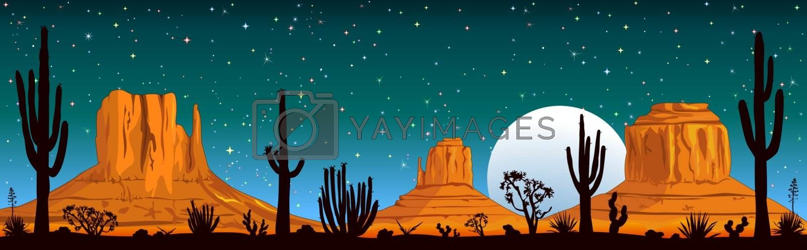 Night landscape of the Arizona desert. Landscape rocky desert. Mountains and cactus. Monument Valley in Arizona and Utah.