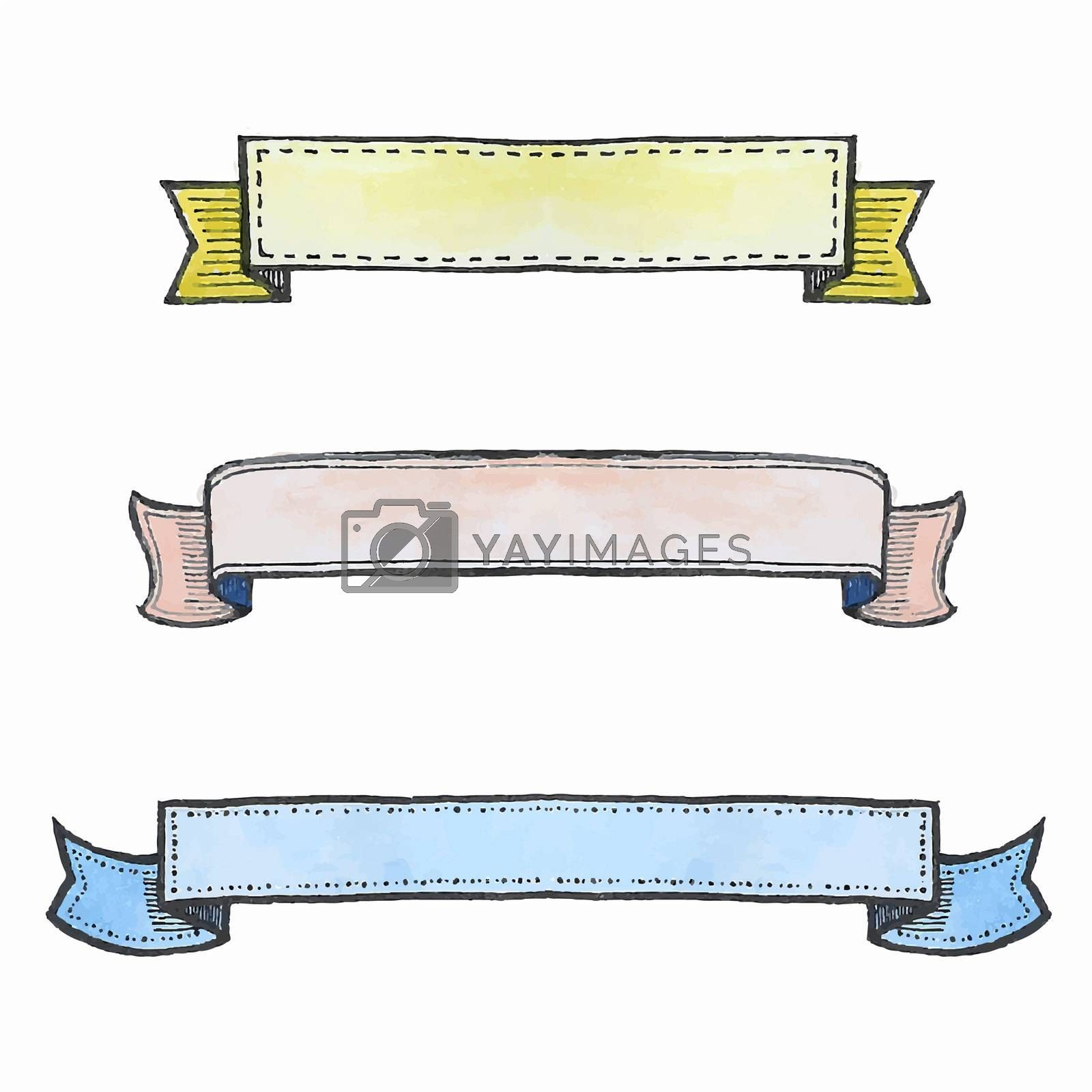 Freehand illustration of set of watercolor ribbon banners on white background, doodle hand drawn
