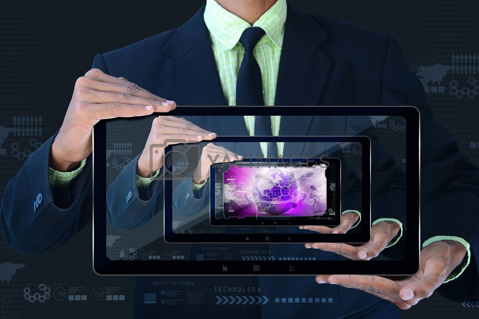 Smart hand showing  futuristic technology by cuteimage