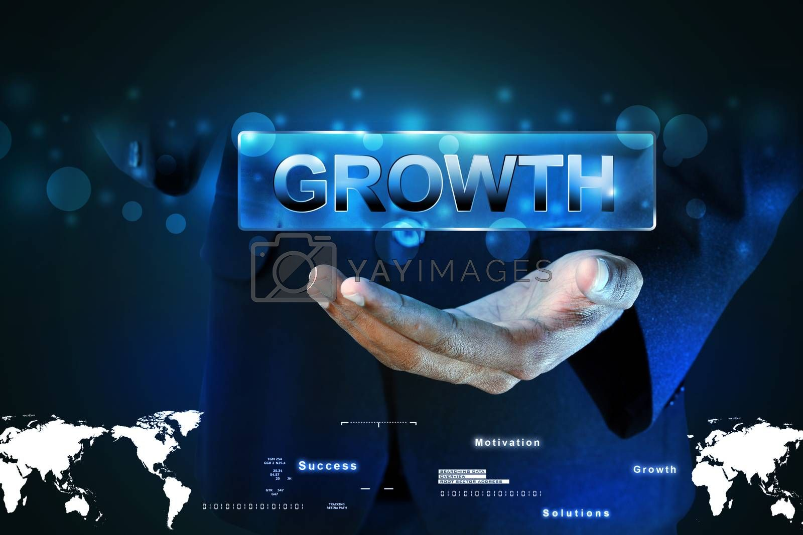 Man hand showing the word growth by cuteimage