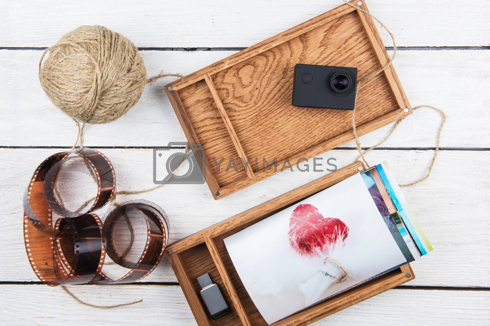 Wooden photo box with photo for Wedding Day. Romantic love, and wedding day concept.