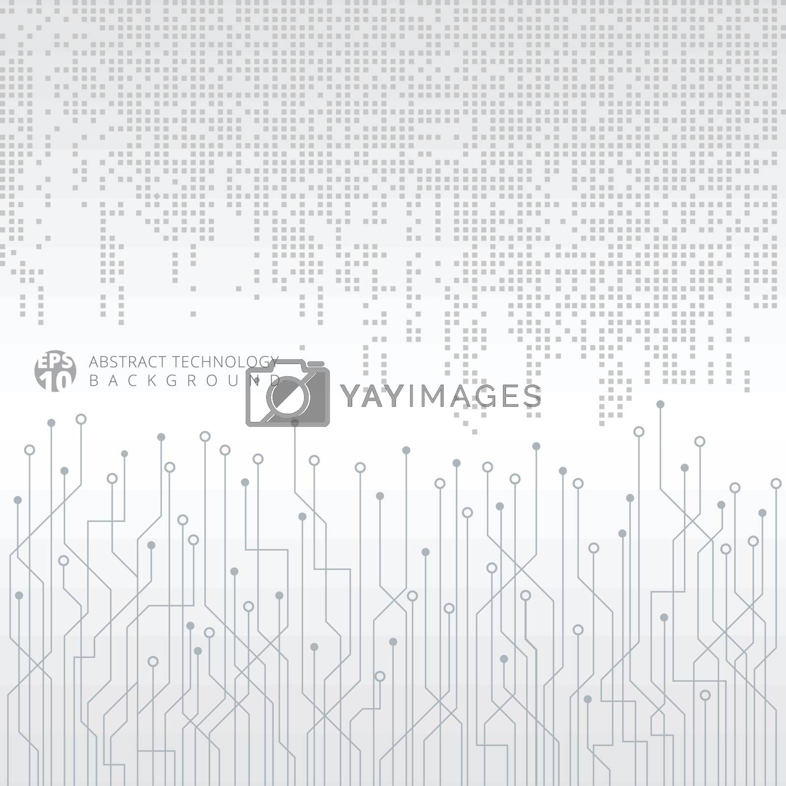 Abstract technology digital data gray square pattern with circuit board on white background. Vector illustration