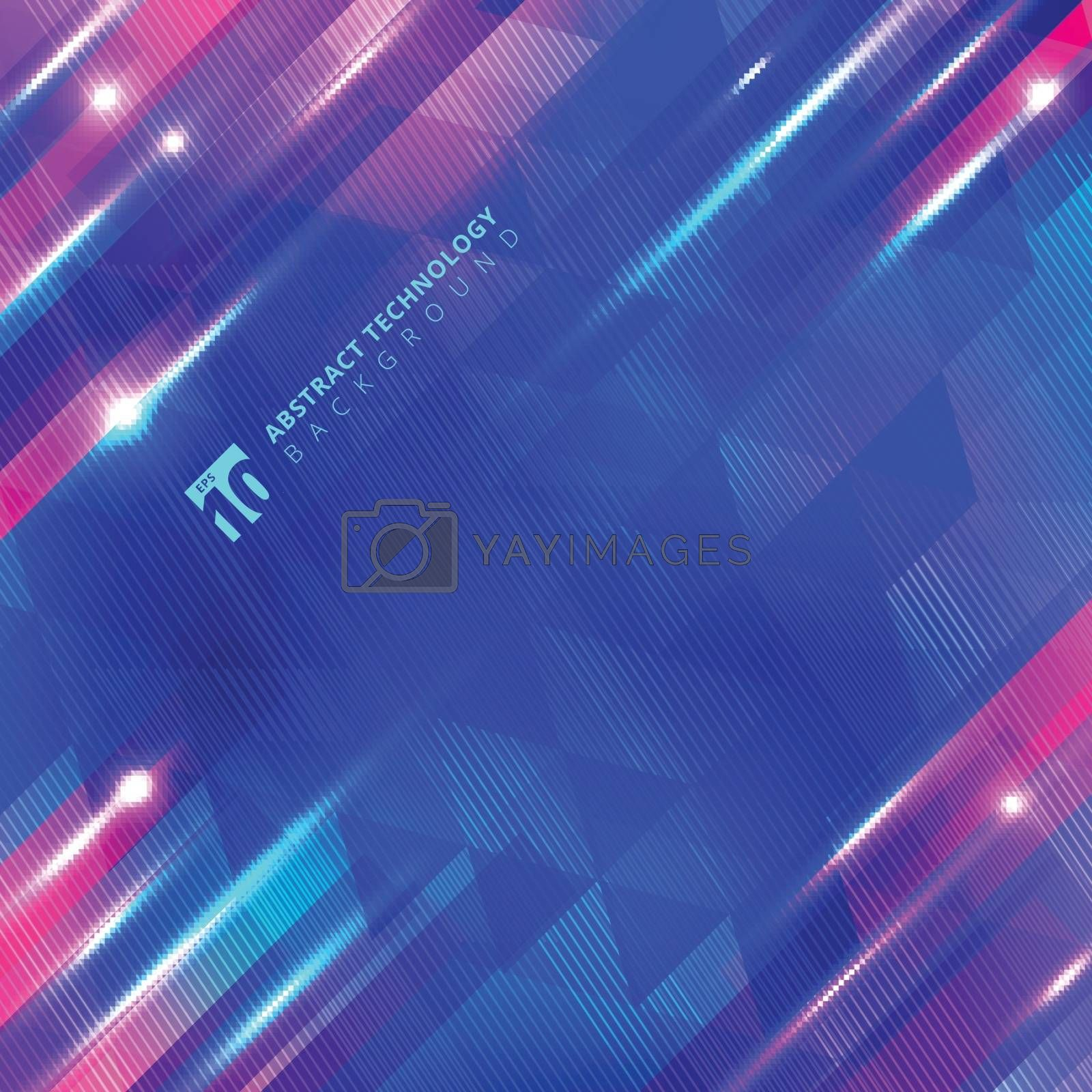 Abstract blue geometric motion with lighting glow technology colorful on lines and triangles pattern background. Vector illustration