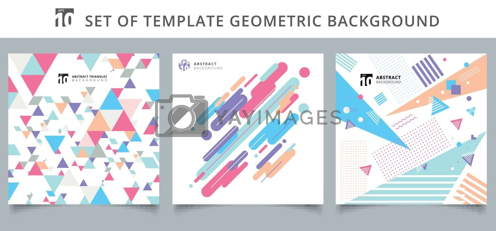 Set template geometric pattern covers design. You can use for print, ad, brochure, leaflet, flyer, poster, magazine, banner, website. Vector illustration