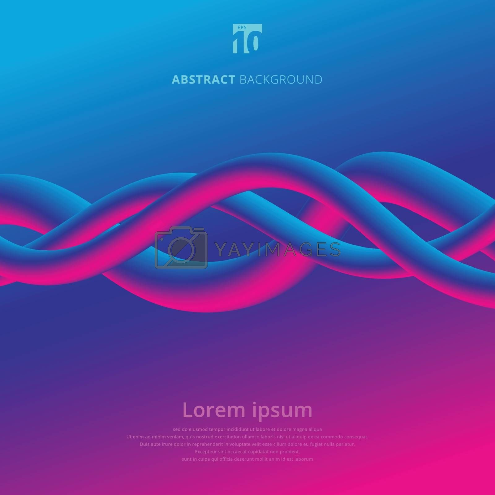 Abstract 3D rendering lines colorful spiral wires background. Liquid fluid wave color. Vibrant gradient stream. Creativity concept visual communication poster design