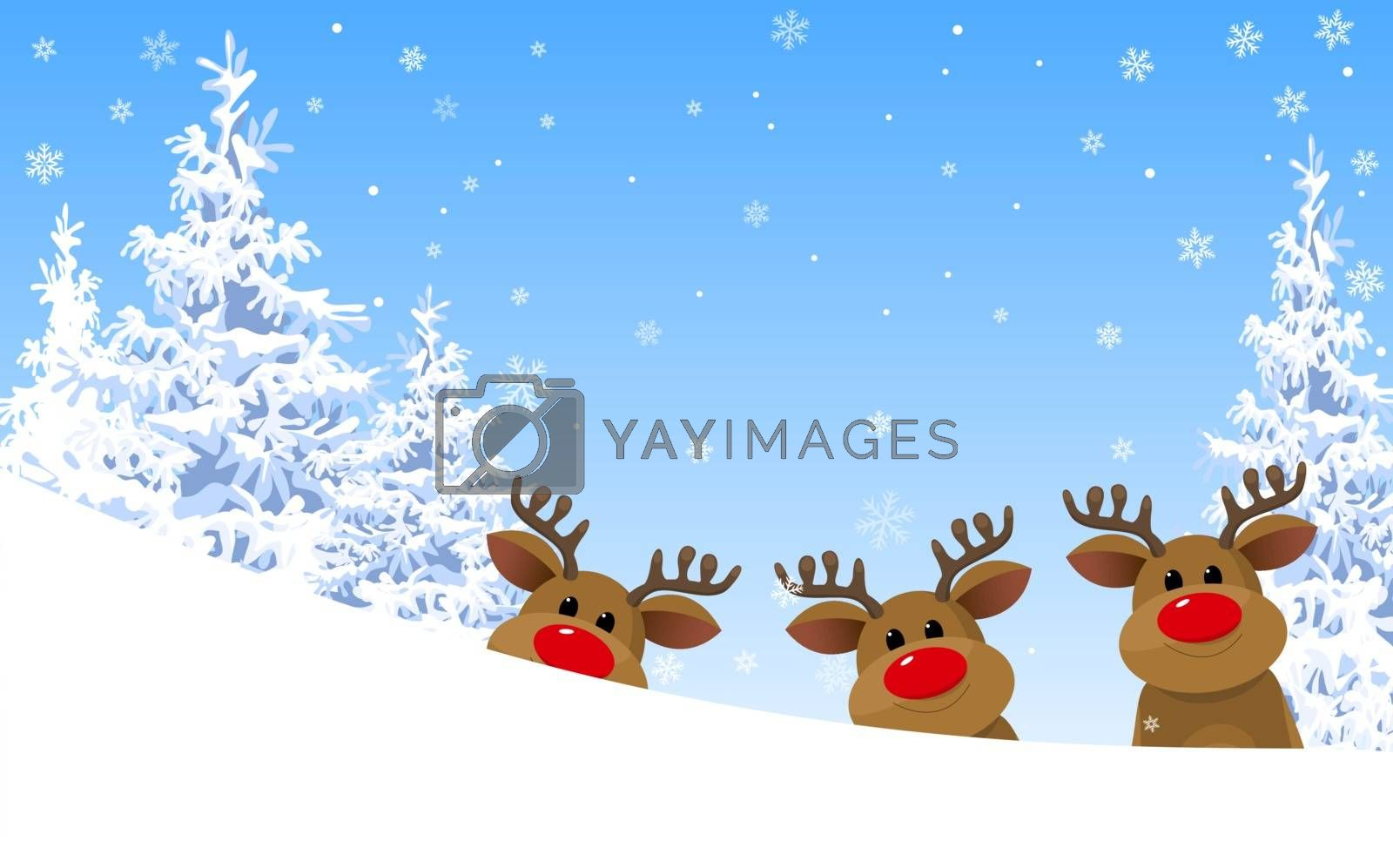 Winter. Winter forest. Group of deer. Deer on the background of the winter forest and blue sky with snowflakes.