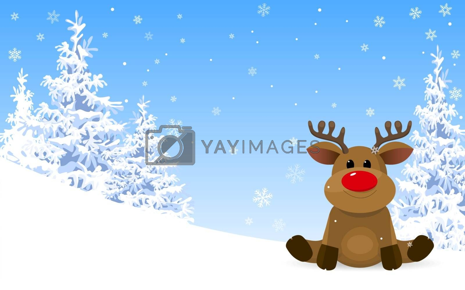 Winter. Winter forest. Reindeer on the background of the winter forest and blue sky with snowflakes.