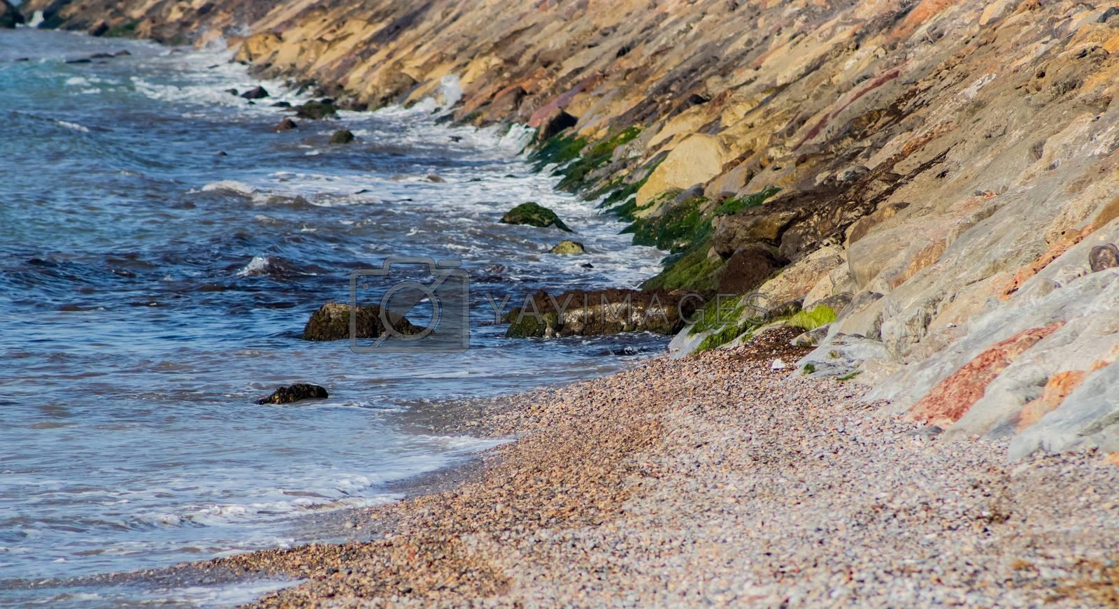 Breakwater of the Mediterranean coast of Burriana