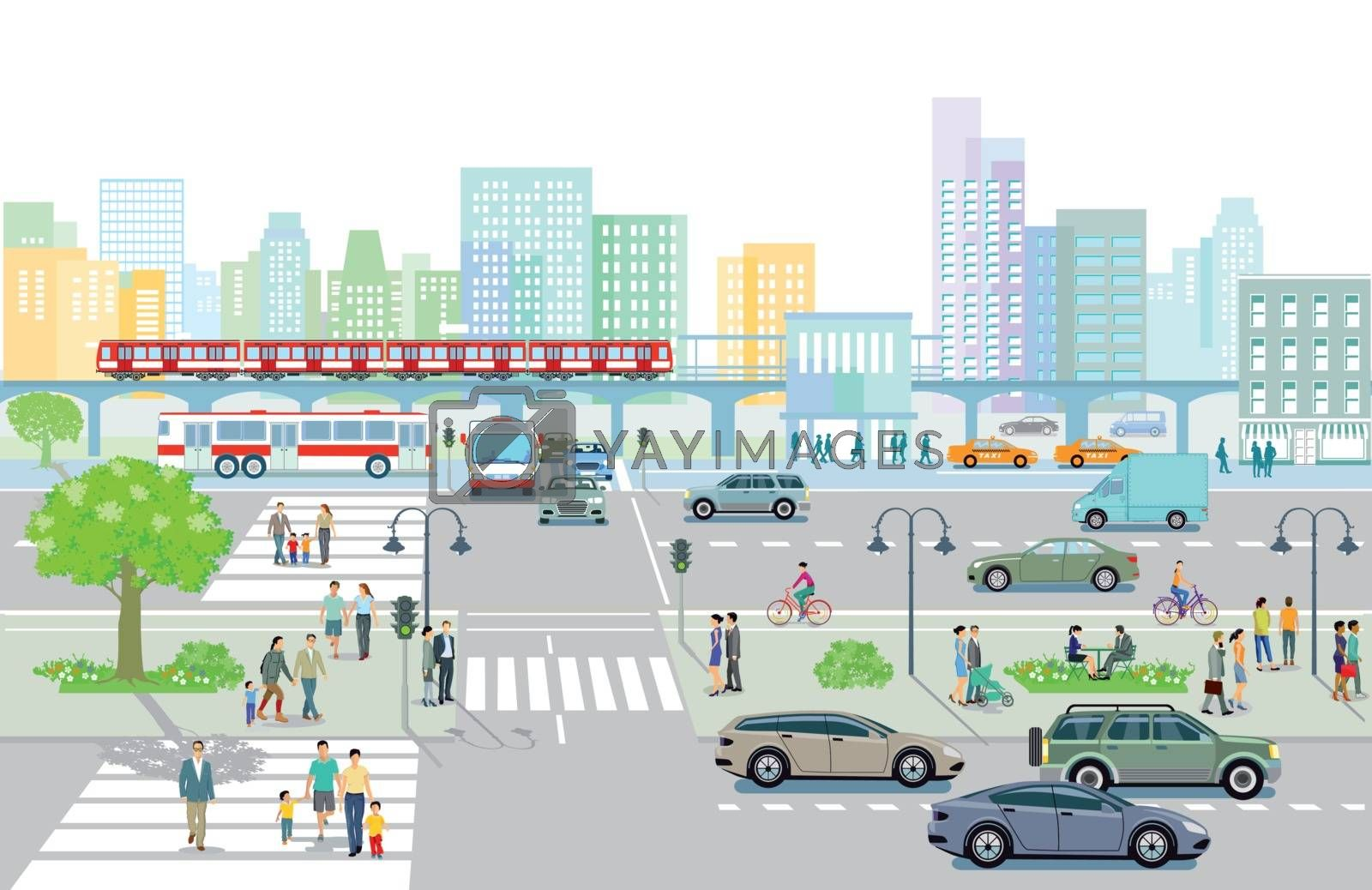 City with traffic and pedestrians on the sidewalk