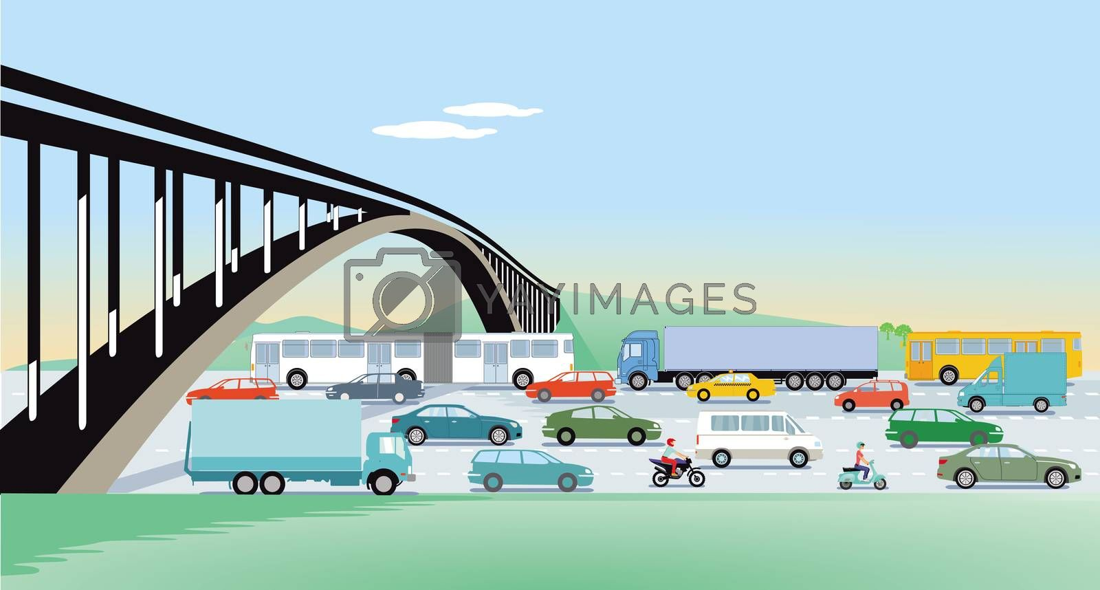 Royalty free image of Expressways with bridge and road traffic by scusi