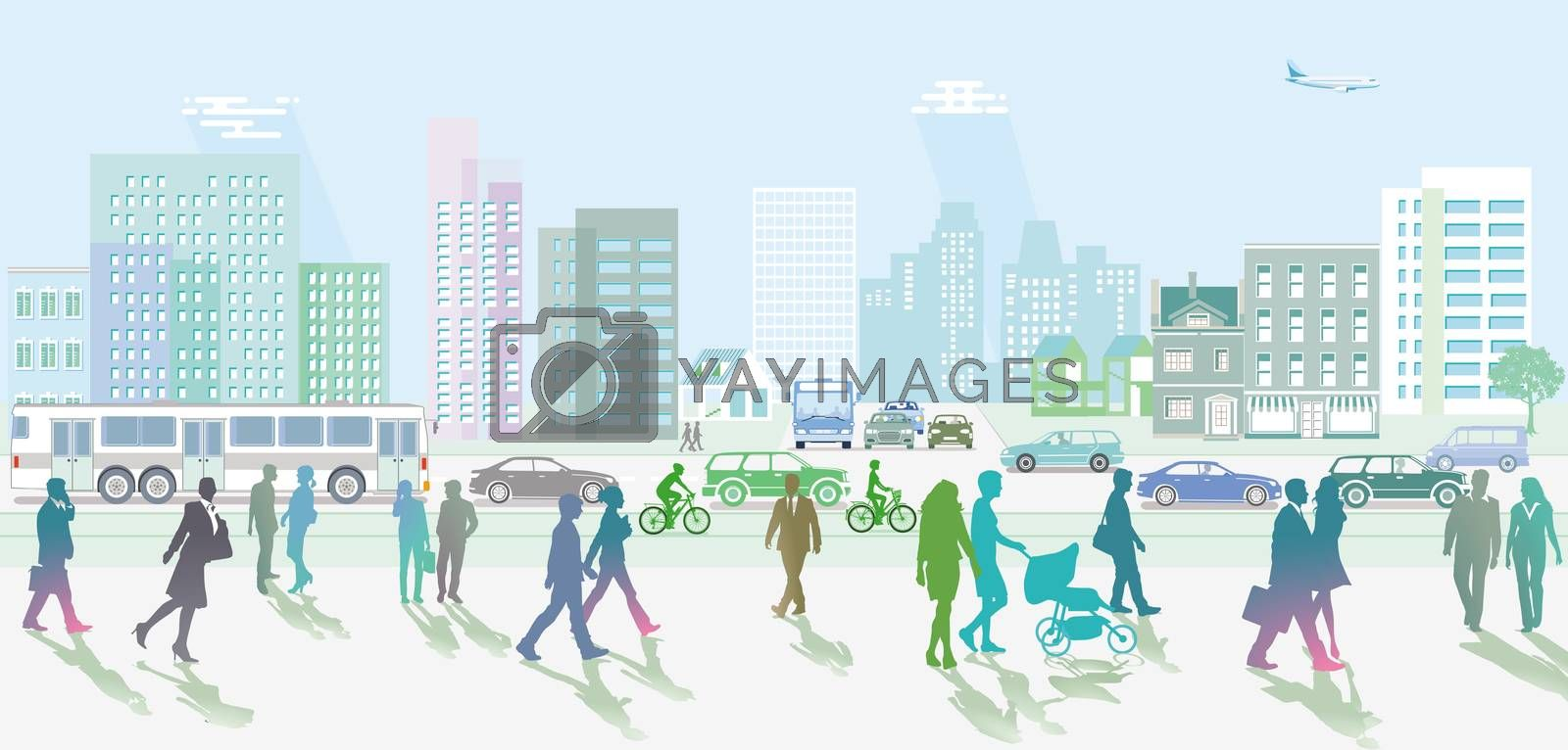 Royalty free image of City with People and pedestrians by scusi