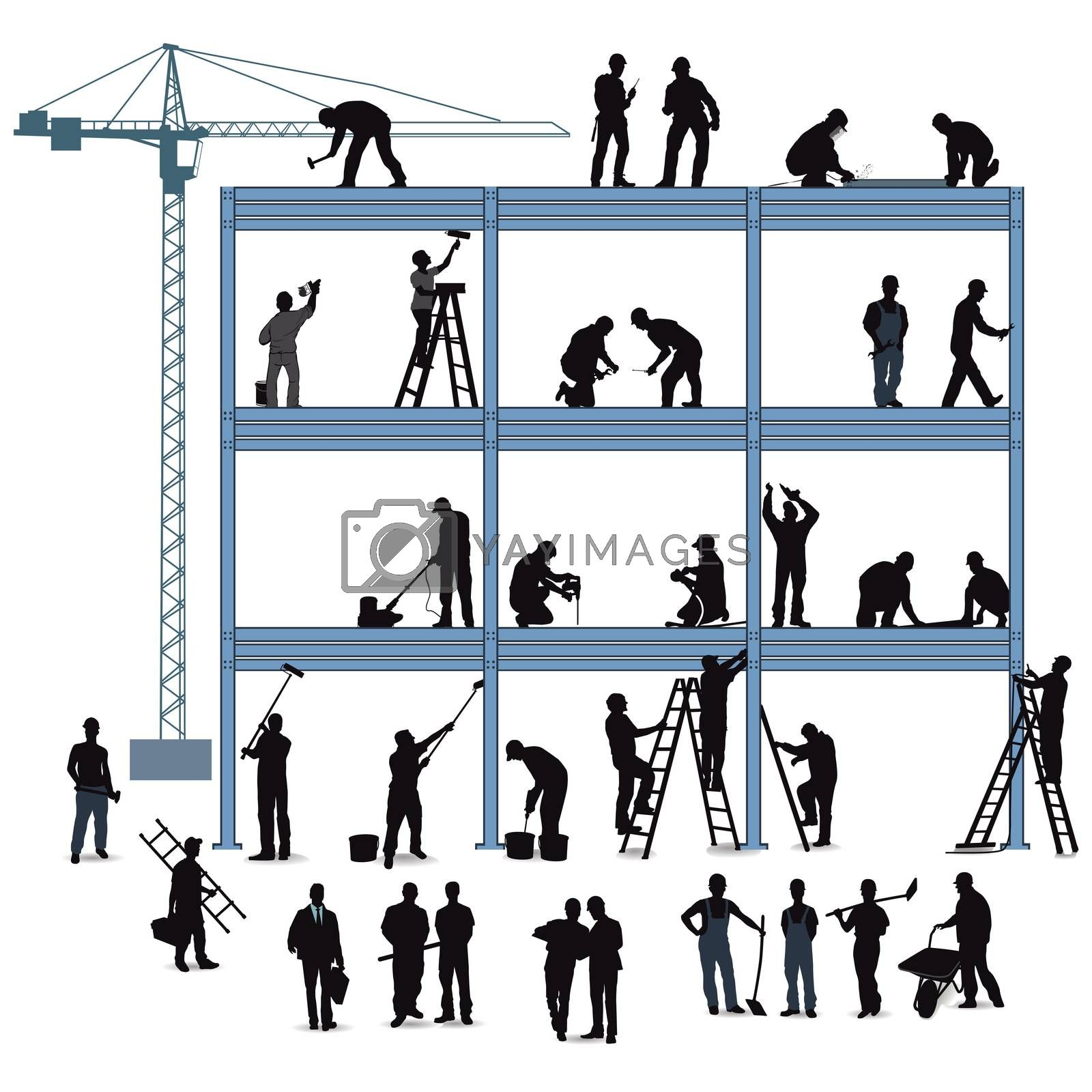 Royalty free image of Technician and craftsman in building a house by scusi
