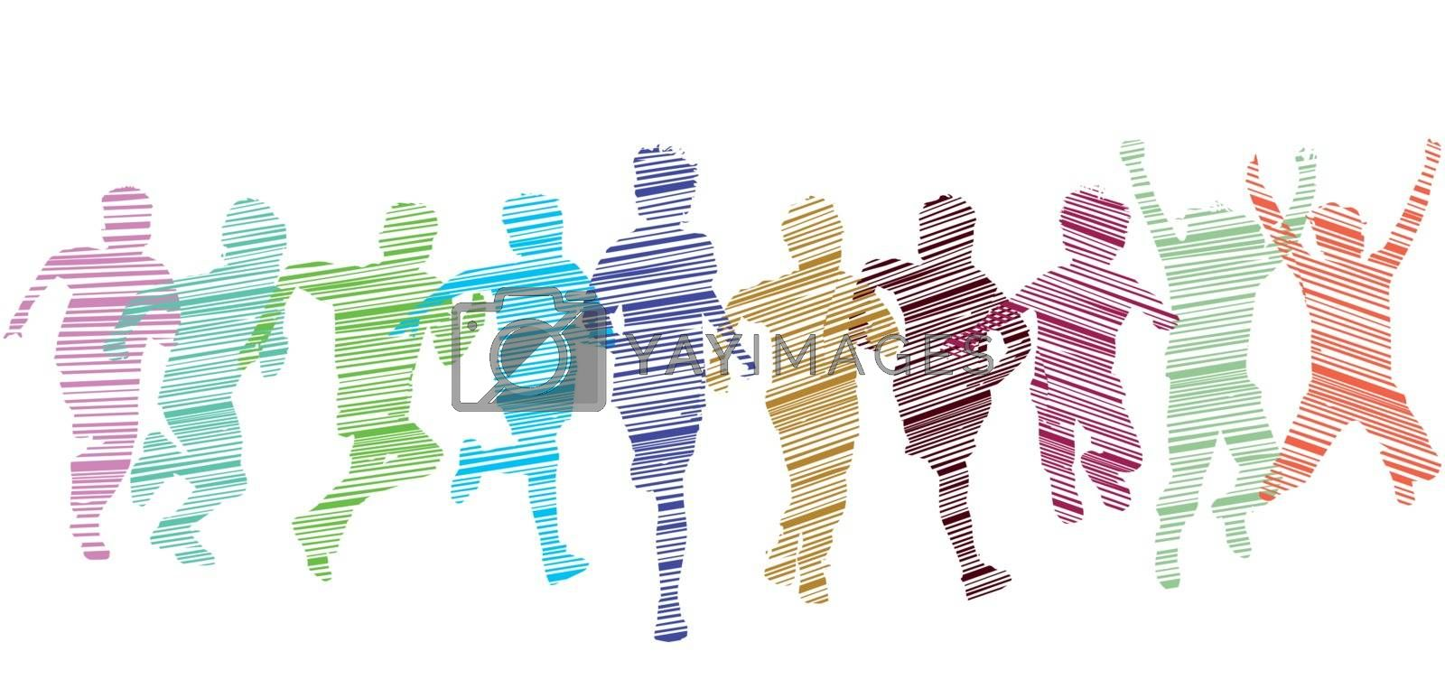 Royalty free image of A group of kid run and have fun, illustration-Isolated by scusi