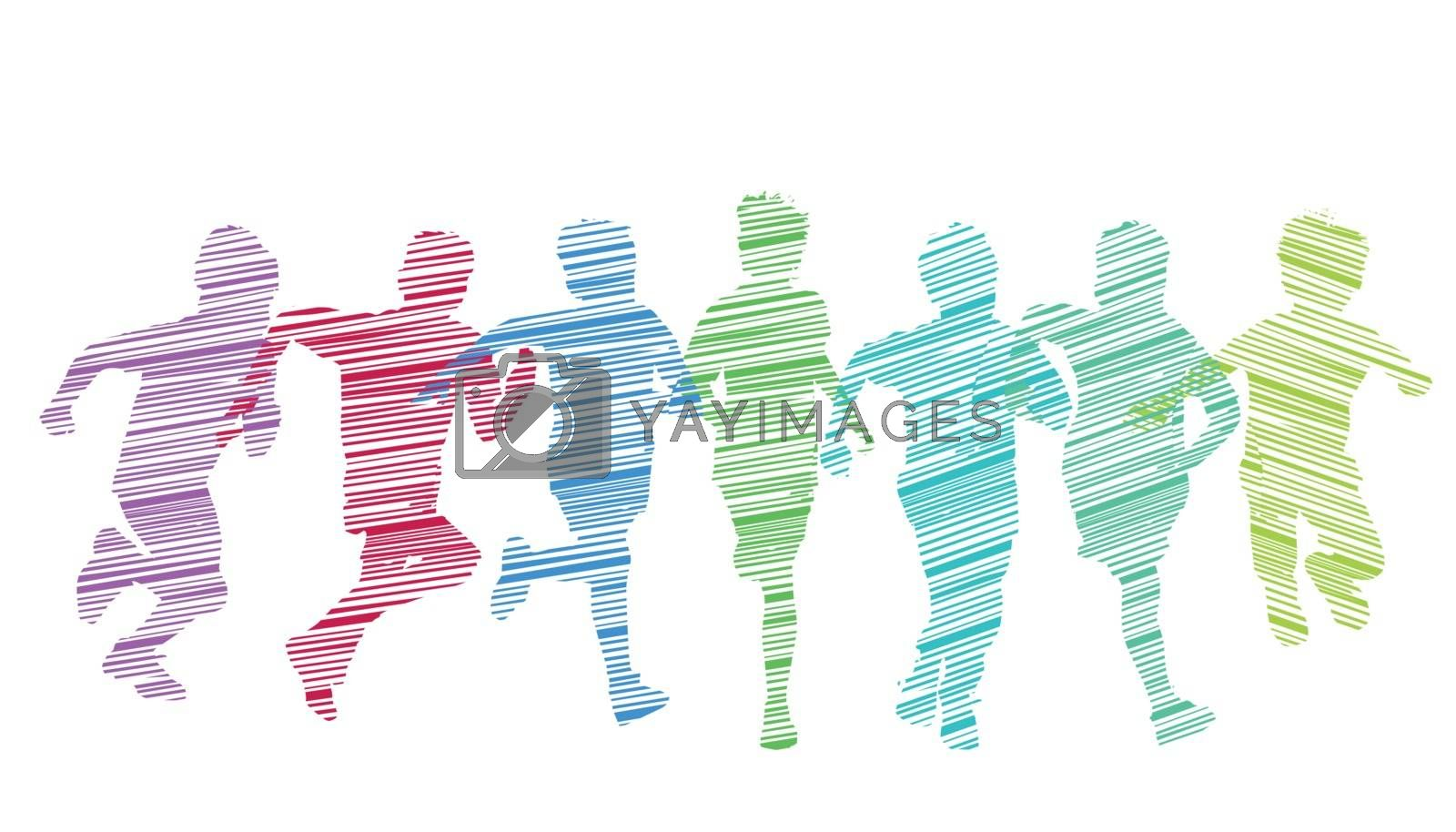 A group of kid run and have fun, illustration-Isolated