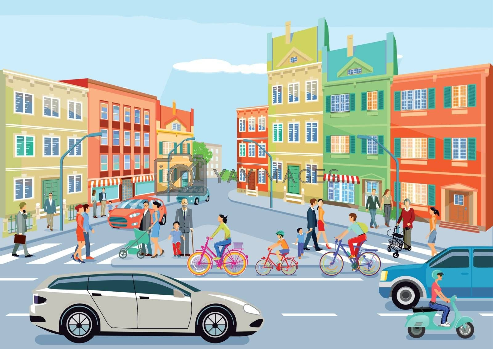Royalty free image of Small town with traffic and pedestrians by scusi