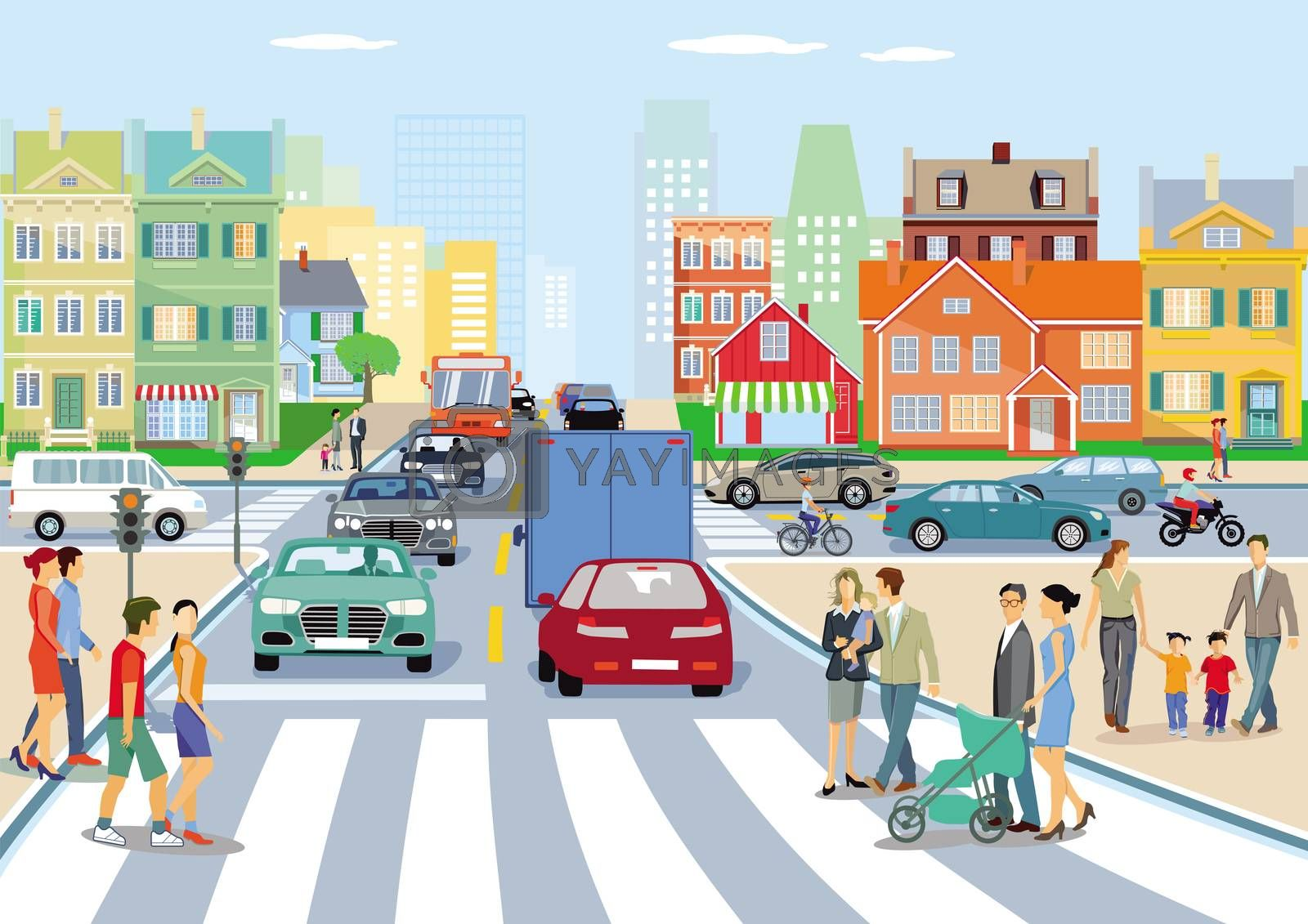 Royalty free image of Cityscape with local traffic and pedestrians by scusi