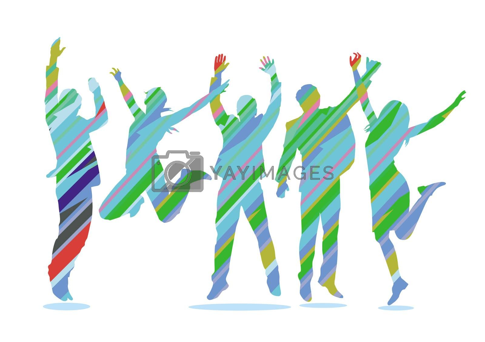 Royalty free image of group of business people celebrates - illustration by scusi