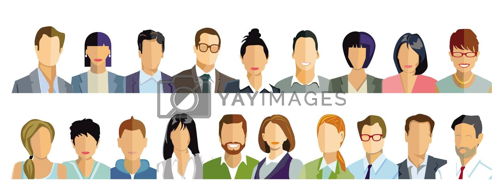 Royalty free image of Persons portrait, faces illustration by scusi