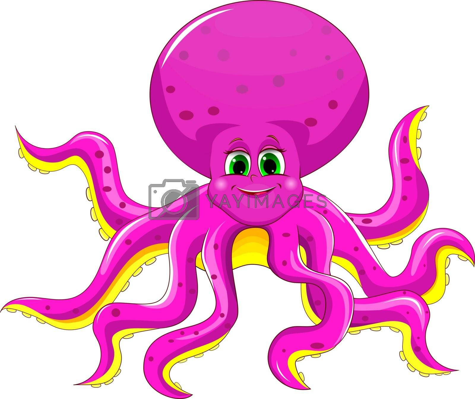 Cartoon octopus pink on a white background.